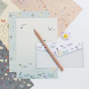 送料無料レターセット 大人 おしゃれ 結婚式 夏 残暑見舞い 封筒 横書き 可愛い 子供 かわいい プレゼント ラブレター 花 水鳥 鳥 猫 動物 魚