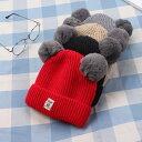 ポンポン付きニット帽 ニットキャップ 帽子 ボンボン付き 裏起毛 子供用 キッズ 防寒 寒さ対策 暖かい あったかい 可…