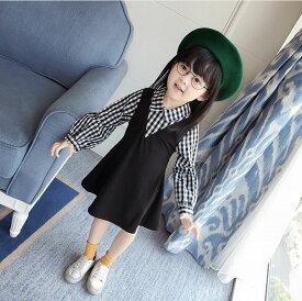 送料無料ワンピース フェイクレイヤード ドレス トップス キッズ チェック ブラック 女の子 重ね着風 長袖ワンピース フレアスカート パフスリーブ かわいい おしゃれ