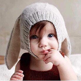 送料無料帽子 ニット帽 ベビー用 赤ちゃん 無地 裏起毛 ボア 可愛い あったか 防寒 うさぎの耳 秋 冬