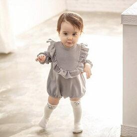 送料無料ロンパース 長袖 ラウンドネック フリル ベビー服 子供服 背中ボタン 股下スナップボタン ウィンドカフス シンプル 無地 単色 ソリッドカラー 可愛い かわいい ガーリー 女の子 女児 ベビーウェア 赤ちゃん 幼児 児童 キッズ 子ども服 こど