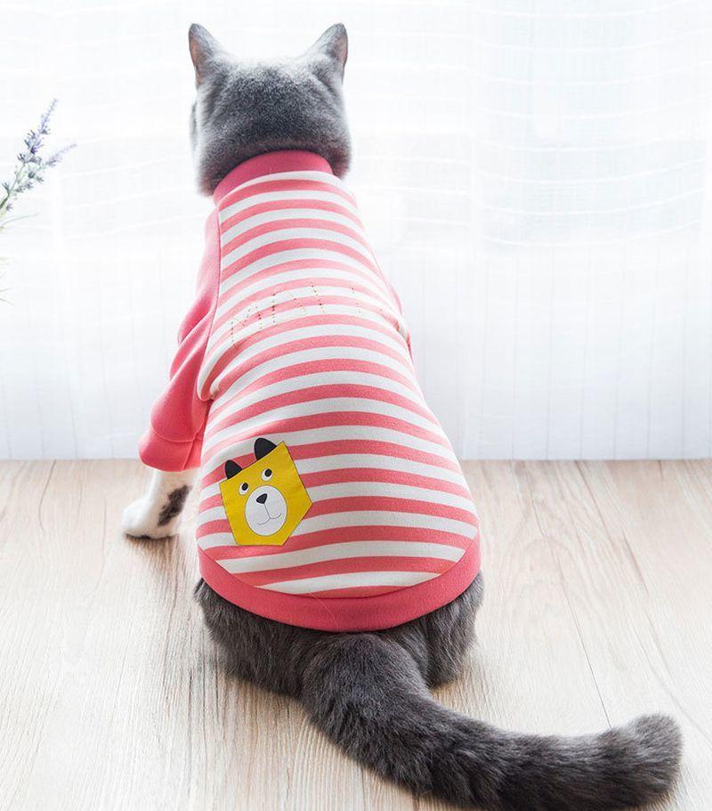 キャットウェア 猫の服 猫服 猫用 ペット服 ペット用 ペットアイテム ペット用品 ストライプ ストライプ 半袖 ネコのイラスト ロゴ 可愛い あったか 防寒 カバーオール