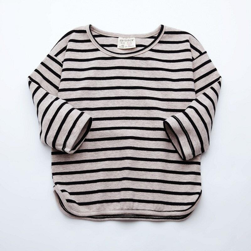 カットソー Tシャツ 長袖 キッズ トップス 子供服 女の子 ロングTシャツ 中袖 プルオーバー 丸首 ラウンドネック ボーダー ストライプ ふんわり シンプル おしゃれ かわいい お出掛け ガールズ
