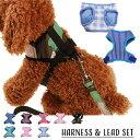 ペット用 犬用ハーネス リードセット リーシュ 胴輪 胸当て ベスト 小型犬 中型犬 お散歩 お出掛け いぬ用 イヌ用 DOG…