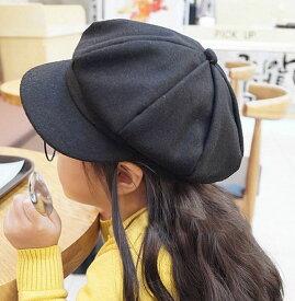 送料無料キャスケット 帽子 ハット キャップ キッズ ブラック グレー レッド カジュアル 無地 シンプル ウール