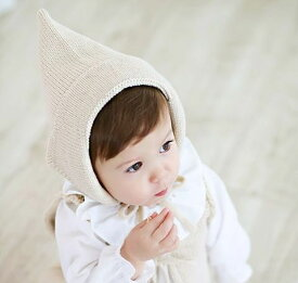 子供用 ニット帽 とんがり帽子 顎ひも付き ニットキャップ ボンネット ベビー キッズ 赤ちゃん 男の子 女の子 冬帽子