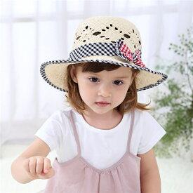 送料無料 麦わら帽子 帽子 ハット 子供用 女の子 キッズ ガールズ ファッション小物 ファッションアイテム チェック リボン 49cm 51cm 53cm おしゃれ かわいい 日除け 日差し避け 紫外線防止 日焼け防止 お出かけ リゾート