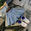 送料無料キュロットスカート キュロットパンツ デニム ジーンズ ショートパンツ 短パン フレアパンツ 子供用 キッズ ボトムス ウエストゴム カジュアル シンプル 無地 おしゃれ 女の子 女児 子供服