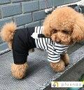 ペット用 犬用 洋服 ツナギ カバーオール ロンパース フード付き 半袖 重ね着風 ボーダー柄 クマ 可愛い かわいい 犬…