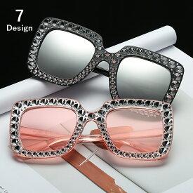 送料無料サングラス レディース ファッション小物 ビッグフレーム 四角 遮光 UV対策 紫外線防止 小顔 おしゃれ キラキラ