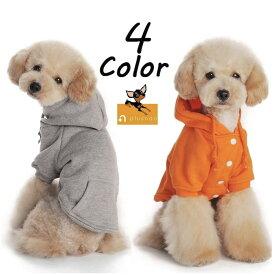 送料無料ドッグウェア パーカー 半袖 フード付き スナップボタン ペットウェア 犬服 犬用 猫用 洋服 シンプル 無地 単色 ソリッドカラー リブ加工 背中ポケット付き カジュアル XS S M L XL XXL 2XL ペット用 超小型犬 小型犬 ドッ