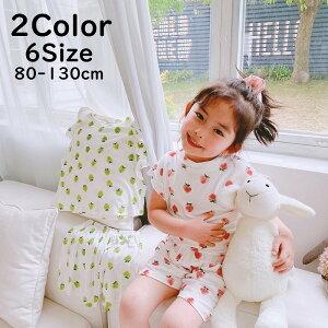 送料無料パジャマ キッズ 上下セット ルームウェア 女の子 子供用 半袖 ショートパンツ 短パン イチゴ いちご 夏 かわいい ホワイト