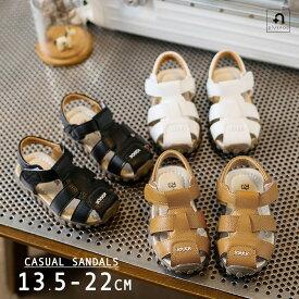 送料無料子供用サンダル キッズサンダル フラット ぺたんこ 歩きやすい フェイクレザー マジックテープ 楽 シンプル カジュアル 女の子 男の子 女児 男児 子ども こども キッズ KIDS ベビー 靴 シューズ くつ
