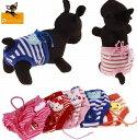 送料無料ペット用 犬用 サニタリーパンツ マナーパンツ 生理用パンツ オムツカバー ウエスト紐 ボーダー柄 ヒート 月…