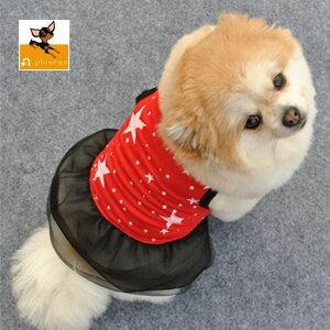送料無料犬猫兼用 ペット用 ワンピース 犬の服 ノースリーブ 袖なし 洋服 チュールスカート 星柄 スター おしゃれ 可愛い かわいい ドッグウェア ドッグウエア 超小型犬 小型犬 犬用 イヌ用