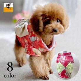送料無料ドッグウェア 犬用 小型犬 ペット用品 着物 花柄 リボン きれいめ フォーマル お呼ばれ おしゃれ パーティー お正月 記念日 誕生日