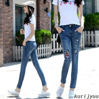 Skinny denim skinny pants Womens denim embroidery stitch damage processing denim pants long pants pants bottoms jeans button CUTE legs leg beauty line celeb casual hold of adult casual slim fit stretch