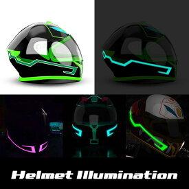 期間限定30%OFFあす楽<送料無料>ヘルメット EL発光 バイク イルミネーション ステッカー 光シール 自転車ヘルメット 夜間 夜間走行