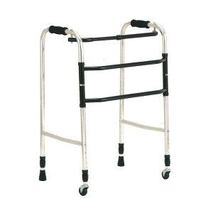 歩行器 アルミ製 交互歩行器 AL-100L 折り畳み クリスケアー キャスター グリップ 歩行補助 リハビリ クリスタル産業 代引不可
