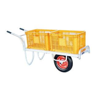 運搬車 コン助 アルミ製 平形一輪車 CN-35D 幅せまタイプ コンテナ縦2個用 ハラックス 防J 代引不可 個人宅配送不可 離島配送不可