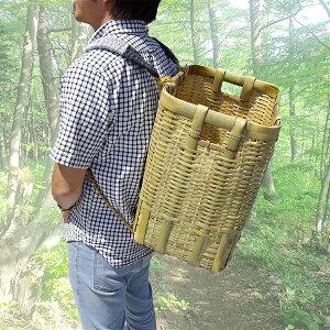 竹製 背負い籠 角小 31cm×23cm×高さ42cm 収穫かご 竹籠 渋YD