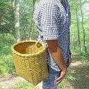 竹製 万能腰籠 紐付き 直径25cm×高さ28cm 収穫かご 竹籠