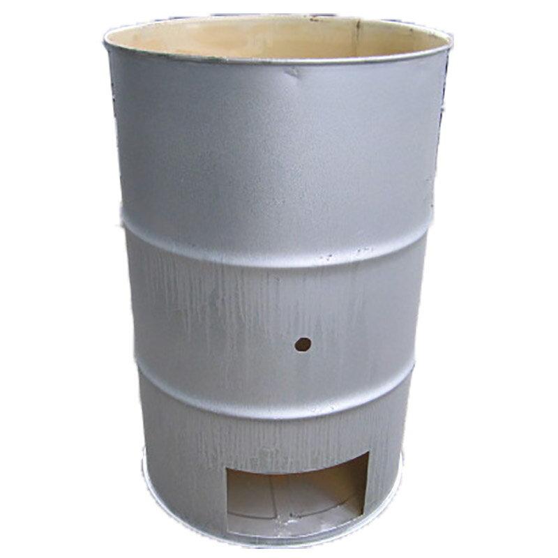 【塗装有】 シルバー ドラム缶焼却炉 オープンドラム 200L 焼却炉 (部品入り) 納期6週間 ミY【代引不可】