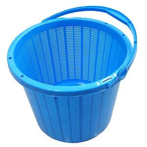 16個 丸かご 青 中 取っ手付 容量16L 収穫かご 国産品 安全興業 D