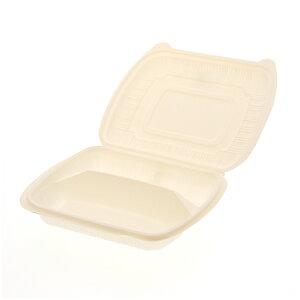 50枚 食品容器 コーンスターチパック IDFP-50 仕切付 225 × 195 × 高45mm テイクアウト ケータリング イベント アウトドア Sモ 個人宅配送不可 代引不可