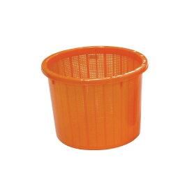 【個人宅配送不可】 【10個】丸型 収穫かご オレンジ ベルト付 大 容量約 20L 安全興業 【送料無料】 【代引不可】