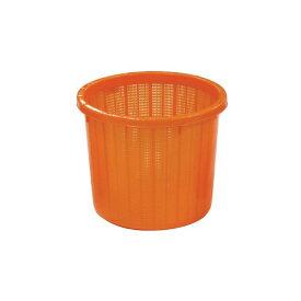 【個人宅配送不可】 【16個】丸型 収穫かご オレンジ ベルト付 中 容量約 16L 安全興業 【送料無料】 【代引不可】