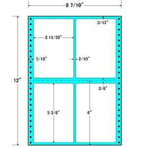 【送料無料】東洋印刷 MT8X タックフォームラベル 8 7/ 10インチ×12インチ 4面付(1ケース500折)【在庫目安:お取り寄せ】| ラベル シール シート シール印刷 プリンタ 自作