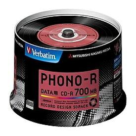 【送料無料】三菱ケミカルメディア SR80PH50V1 CD-R 700MB PCデータ用 48倍速対応 50枚スピンドルケース入り PHONO-R フォノアール【在庫目安:お取り寄せ】