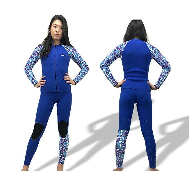 ウェットスーツ レディース ジャージ ツーピース オーダー ロングジョン 長袖タッパー 花柄 2mm サーフィン sup ヨガ スワロフスキー 日本製 swipe wetsuits