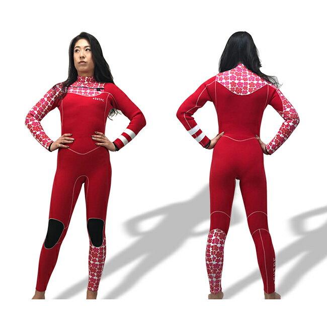 ウェットスーツ レディース ジャージフルスーツ オーダー チェストZIP 3mm サーフィン sup ジャーフル スワロフスキー 日本製 swipe wetsuits