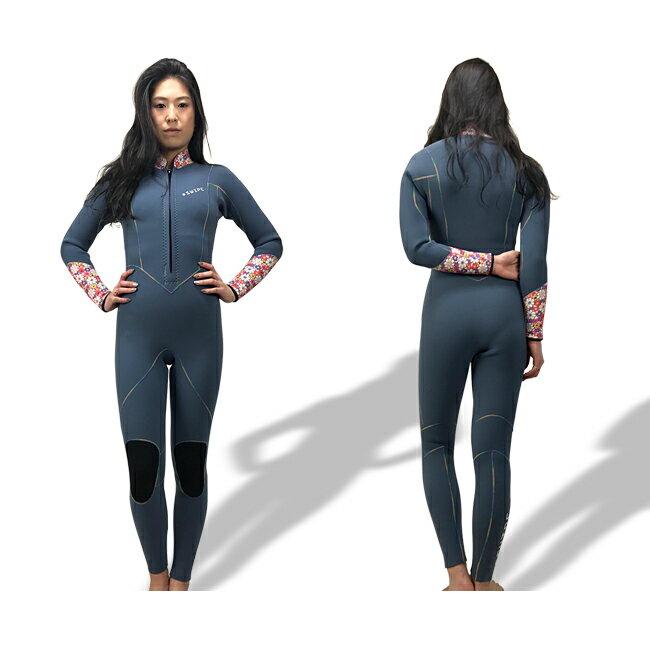 ウェットスーツ レディース ジャージフルスーツ オーダー フロントファスナー 花柄 3mm サーフィン sup ヨガ スワロフスキー 日本製 swipe wetsuits