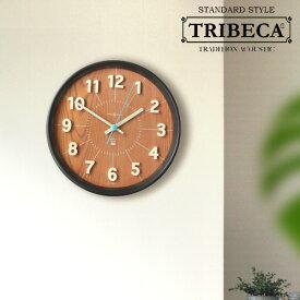 送料無料 時計 壁掛け【あす楽14時まで】TRIBECA Baker Wall Clockトライベッカ ベーカーウォールクロックヴィンテージ調 日本製 天然木 スイープムーブメント◇ おしゃれ 掛置兼用 置き時計 デザイン 西海岸 F