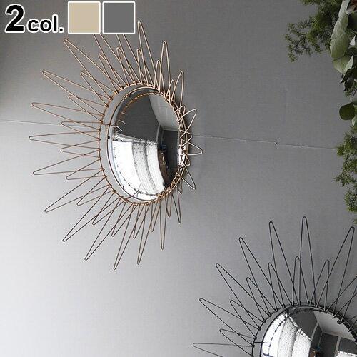 送料無料 ミラー 鏡 壁掛け サンバースト【あす楽14時まで】Interior Wall Mirror RAYインテリア ウォール ミラー レイミッドセンチュリー 太陽 アンティーク 洗面鏡 シンプル インテリア◇コンパクト 軽量 おしゃれ ギフト アート デコレーション デザイン