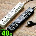 電源タップ usb おしゃれ スイッチ 3m 4個 【あす楽16時まで】ポイント10倍 ケーブルプラグ 4個口 & USBポート 2個口 CABE PLUG 04 & USB PORT 02タコ足 U
