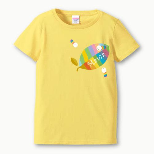 親子ペア 名入れ ママ Tシャツ(葉っぱ)プリント 親子お揃い ガールズサイズ 親子ペアTシャツ ♪ 名前入り 親子 ペアルック 【S,M,L】