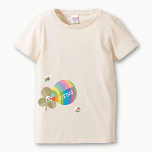 親子ペア 名入れ ママ Tシャツ(よつ葉)プリント 親子お揃い ガールズサイズ 親子ペアTシャツ ♪ 名前入り 親子 ペアルック 【S,M,L】