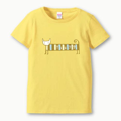 親子ペア 名入れ ママ Tシャツ(シマねこR)プリント 親子お揃い ガールズサイズ 親子ペアTシャツ ♪ 名前入り 親子 ペアルック 【S,M,L】