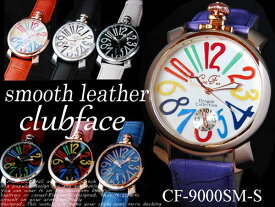 -club face- スムースバンド 革ベルトタイプ ビッグフェイス メンズ 男性用 腕時計 ★CF-9000MT