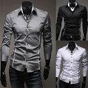 メンズ ファッションカジュアル/メンズ スタイリッシュ ドレスシャツ スリム 長袖 きれい目 彼氏 男性 men's