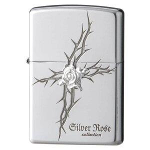ZIPPO ジッポー オイルライター ローズ 純銀メタル クロス 63250298