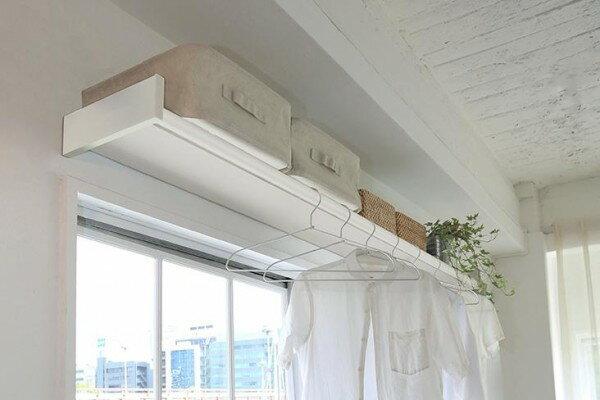 壁 棚 ホワイト 壁掛けシェルフ 白 室内物干し 壁掛け棚 おしゃれ