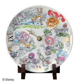 陶時計 ディズニー 置時計 ギフト 陶器 時計 皿 不思議の国のアリス 時計