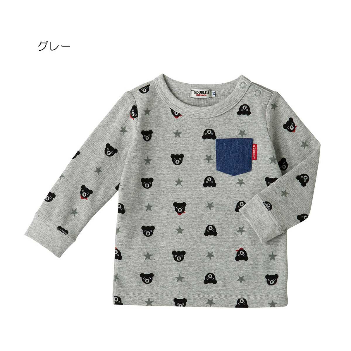 ダブルビー デニムポケット付き総柄長袖Tシャツ DOUBLE_B (80cm・90cm・100cm)【63-5201-261】 CPN