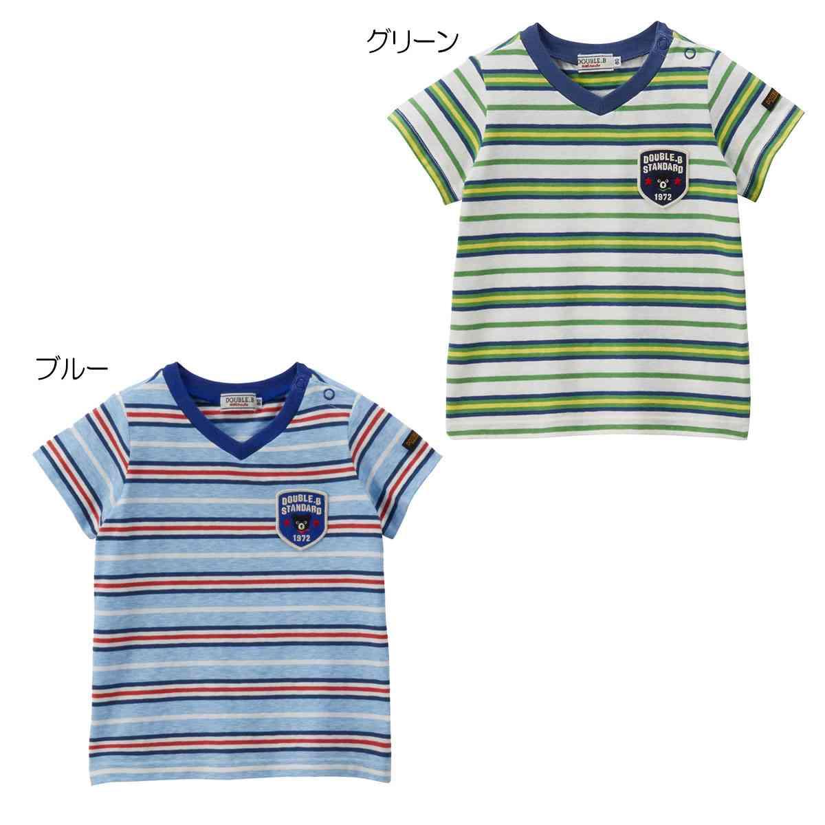☆ DOUBLE_B(ダブルB)Vネックボーダー半袖Tシャツ (120cm・130cm)(62-5204-263)【PSL】