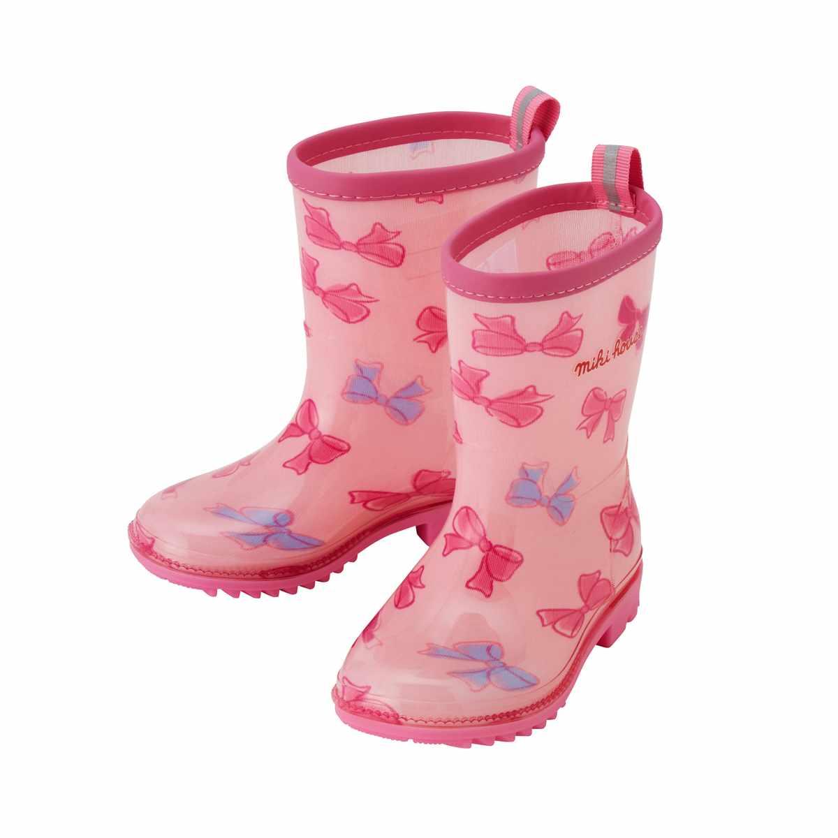 ☆ ミキハウス mikiHOUSEリボンいっぱい♪レインブーツ(長靴)(15cm-21cm)【10-9463-614】